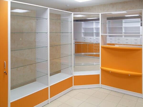 Оранжевая мебель для аптеки на заказ